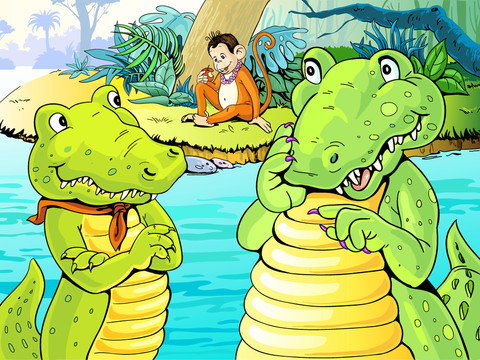 story of the monkey and the crocodile Soon the crocodile was visiting the monkey every day the two animals became good friends - they would talk and tell each other stories, and eat lots of sweet jamuns together one day the crocodile told the monkey about his wife and family the monkey said 'please take some fruit for your wife as well when you go back today.